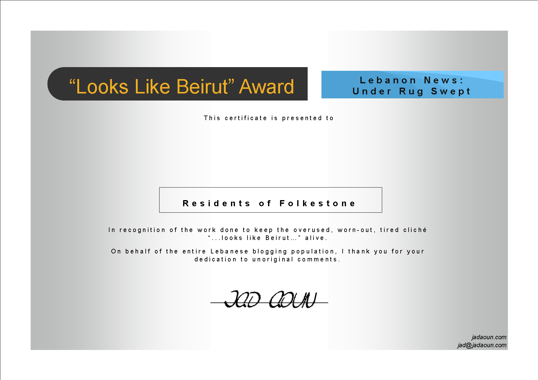 Looks Like Beirut Certificate to the Residents of Folkestone