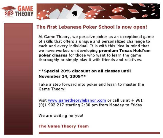 Poker Classes: Game Theory Lebanon
