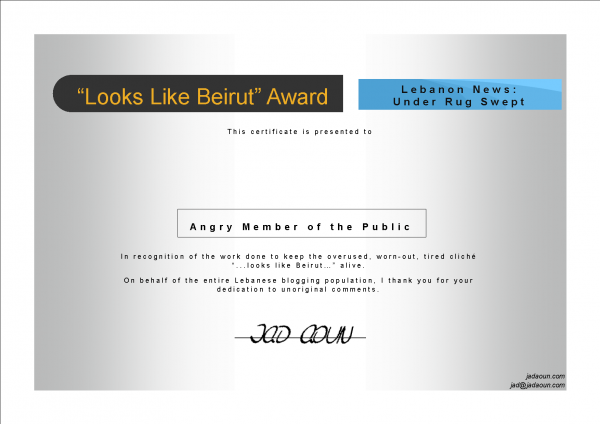 My Looks Like Beirut Certificate to the Angry Member of the Public