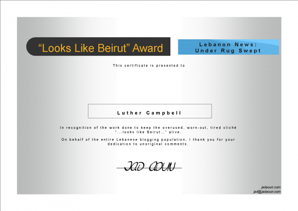 Luther Campbell's Looks Like Beirut Certificate