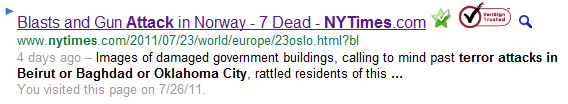 Screenshot from Google: terror attacks in Beirut or Baghdad or Oklahome City